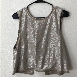 Free People Sparkly Oversized Crop Top Size M